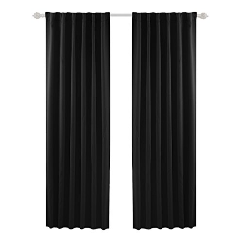 (Deconovo Solid Back Tab and Rod Pocket Blackout Curtains Thermal Insulated Drapes and Curtains for Sliding Glass Door 52x95 Inch Black Set of 2 Panels)