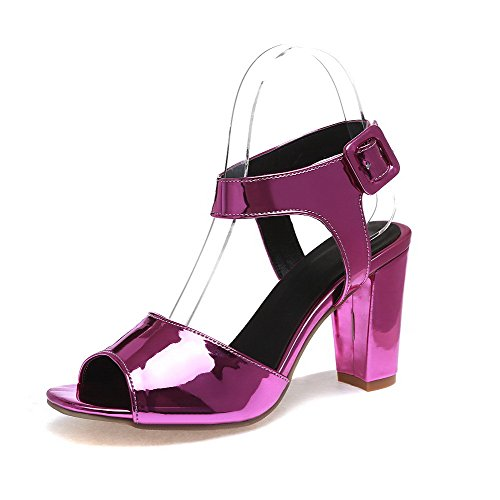 Heels AllhqFashion Open Buckle Heeled RoseRed High Toe Leather Sandals Patent Solid Women's ArrwRE