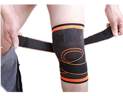 Knee Pads 1 Pc 3D Weaving Basketball Support Protective Pressurized Sports Orange - Insert Pro Derby One