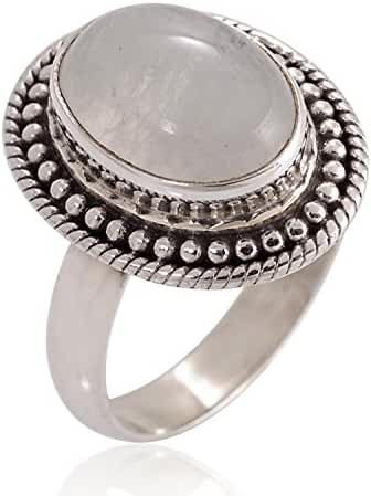 925 Oxidized Sterling Silver Natural Moonstone Gemstone Oval Rope Edge Vintage Band Ring 6, 7, 8, 9