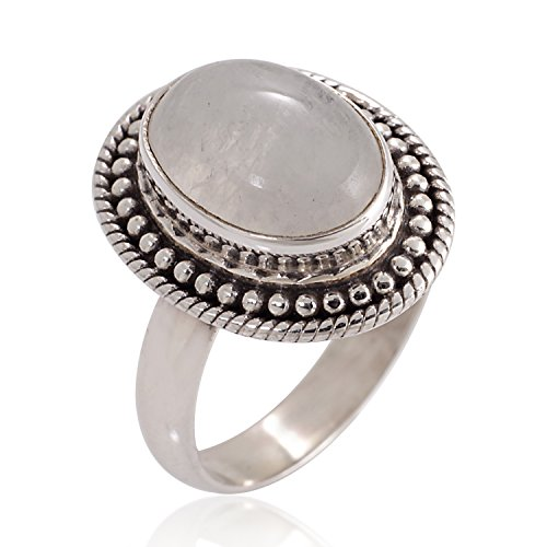 Chuvora 925 Oxidized Sterling Silver Natural Moonstone Gemstone Oval Rope Edge Vintage Band Ring Size -