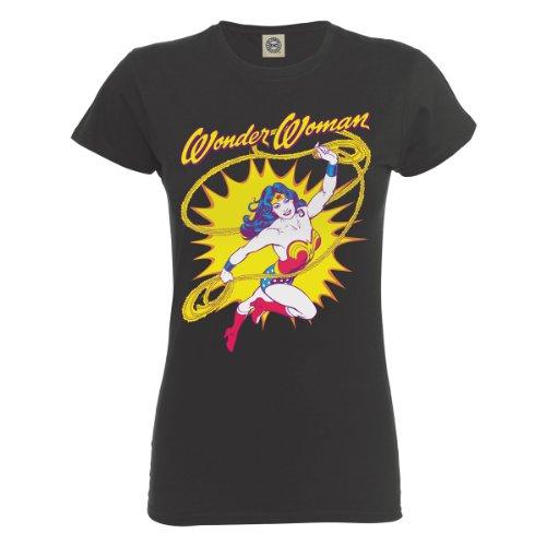 Grigio DC Grey corta Charcoal Maglietta Manica Comics Donna 1H1SX