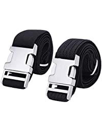 Zinc Alloy Adjustable Belt - 2PCS Easy Kid Belt for Toddlers Boys Girls (Black/Black Ripple)