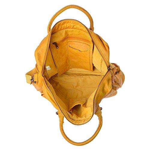 Bolso bandolera en piel vivido teñida en prenda con 2 asas DUDU Saffron Yellow