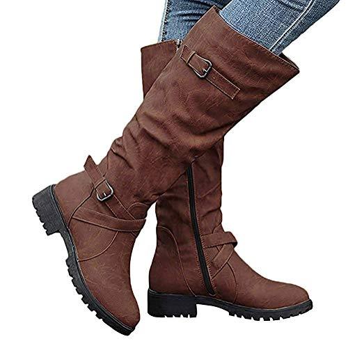 Chevalier Plat Boots Cuir Hauteur Boucle Du Bottes Equitation Marron À Chaussures Femmes En Genou qxTfATH