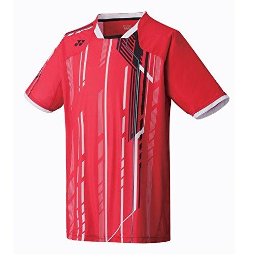 YONEX 12098EX Tournament Men's Crew Neck Shirt, Red, M