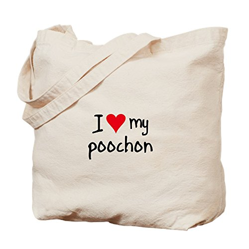 Cafepress Canvas Natural Shopping Bag I Love My Tote Bag Poochon Cloth rwXrqI