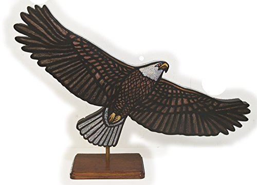 Bald Eagle Stained Glass - Bald Eagle Soaring - 24 in. x 10.5 in. - sculpture - medium stand