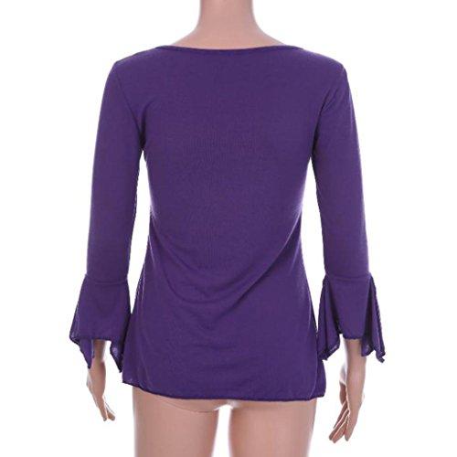 FAMILIZO Mujeres Autumn Flare 3/4 Sleeve Slim Cuello V Botones Blusa Tops Camiseta Otoño Talla Grande Tops Púrpura