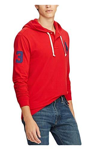Ralph Lauren Polo Men's Cotton Mesh Big Pony Long Sleeve Hoodie (Red, Large) ()