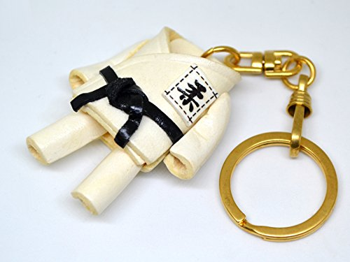 Judo Gi Uniform Sports 3D Leather Keychain(L) VANCA CRAFT-Collectible Keyring Charm Pendant Made in Japan