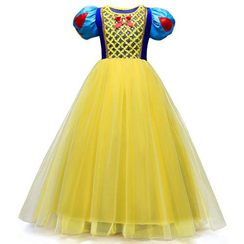Girl Dress Cartoon Snow White Skirt Halloween Dress in Big Boy Dress 3-8 Years Old (5-6(Years), Yellow)]()