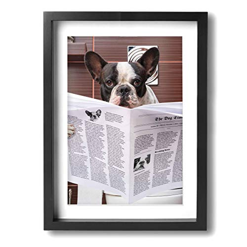 Baohuju 16 X 12 Inches Contemporary Canvas Wall Art - French Bulldog Sitting On Toilet And Reading Newspaper - Ready To Hang