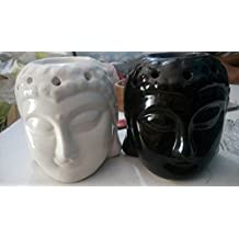 Beautiful Ceramic Buddha Shaped manual (T-LIGHT Candle) diffuser for fragrance (Pack of 2) - Aroma Therapy Essential Oil Burner