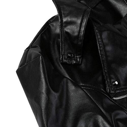 Cappotto Elegante Pu Giubbino Lunga Donna Outerwear Cerniera Similpelle Giacca Pelle Hipster Nero Con Di Moda Autunno Vintage Manica Primaverile In xTB41x