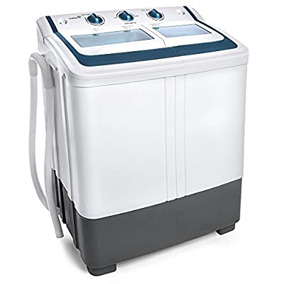 Ivation Small Compact Portable Washing Machine - Twin Tub Washer & Spin with 12.12 Lb. Wash Capacity & 7.7 Lb. Spin Capacity - Includes Drainage Pump & Tube - Ideal for Dorm Rooms, RV & More