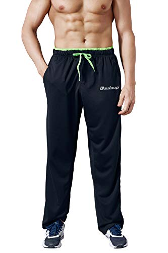 (Duuluup Men Sport Pants - Quick Dry Active Sports Sweatpants Color Mixing with Pockets(Black,XL))