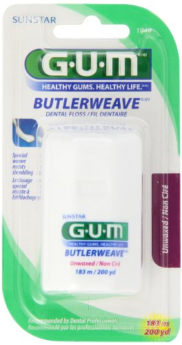 Unwaxed Unflavored Floss Dental Reach - GUM Butler Weave Unwaxed 200 yrds