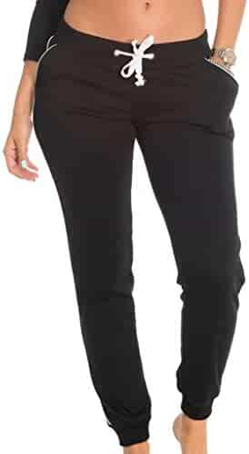 4ed24d6f6261a Coco-Limon Fleece Jogger Pants for Women - White Trim, Side Pockets, Long