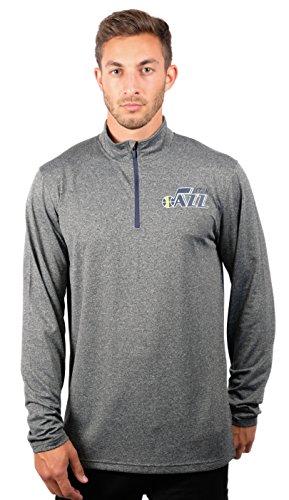 fan products of NBA Men's Utah Jazz Quarter Zip Pullover Shirt Long Sleeve Tee, X-Large, Gray