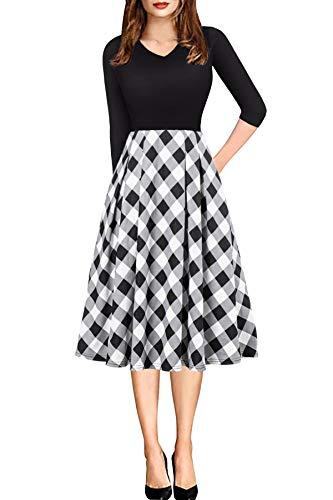 (Plaid Dresses for Women Knee Length Modest High Waist Pocket A-line Dress Black White L)