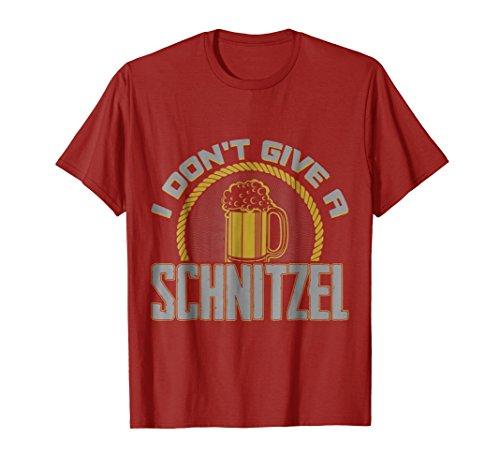 Mens I Don't Give a Schnitzel Tshirt for Oktoberfest & Beer Fest XL Cranberry
