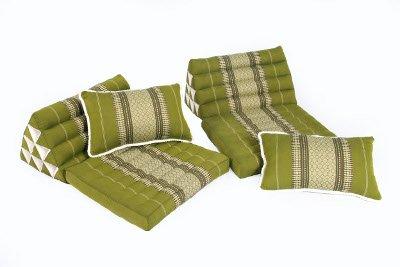 Thai Cushion Set: 4 pieces, Traditional Thai Design, 100% Kapok Filling, Bamboogreen by Handelsturm