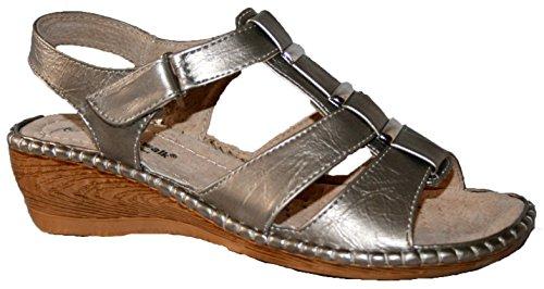 Mujer cojín Walk ligero verano sandalias de cuña Slingback talón comodidad gris