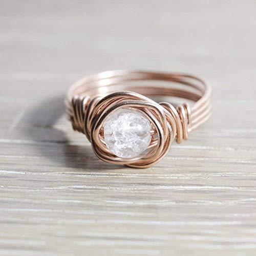 Edelstein-Ring mit Bergkristall und rosé vergoldetem Wirewrap-Draht ...