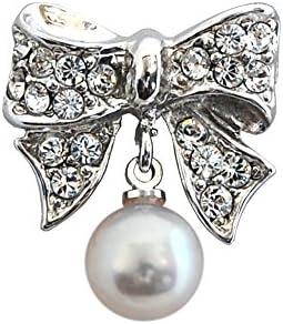 [enyapearl] 小さな ピンブローチ リボンのデザイン アコヤ真珠 パール ブローチ