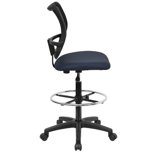 Flash Furniture Mid-Back Navy Blue Mesh Drafting Chair