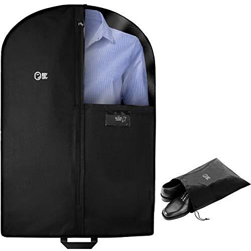 (Luxury Garment Bag for Storage & Travel Carry On | 40 Inch + 5 Inch Gusset | Suit Jacket, Women & Men Shirt, Blouse, Short Dress, Coat, Skirt | Hanging,)
