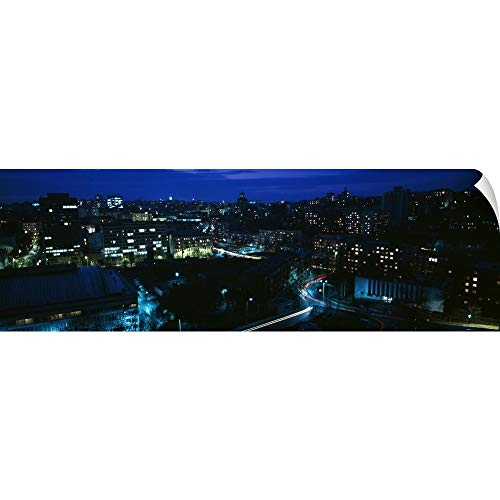 """Price comparison product image Canvas on Demand Wall Peel Wall Art Print Entitled Birds-Eye View of City Buildings at Night,  Kiev,  Ukraine 60""""x20"""""""