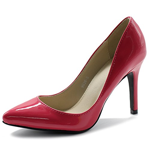 Ollio Women's Shoe Stiletto High Heel Enamel Pointed Toe Pump M9036(7 B(M) US, Pink) -