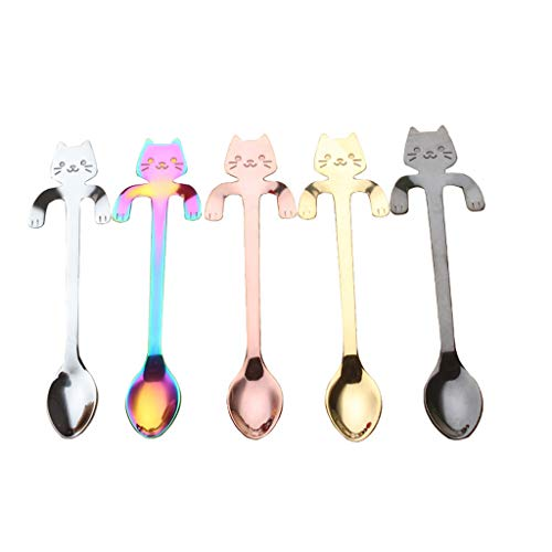Sinfu 5Pc/Set Stainless Steel Creative Kitten Long Handle Stirring Spoon Flatware Coffee Drinking Kitchen Gadget Restaurant Utensils