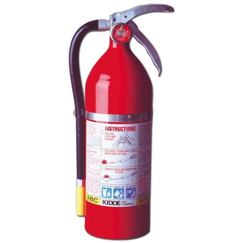 Kidde 468001 Pro Plus 5 Fire Extinguisher, UL Rated 3-A, 40BC, Red (Rechargeable Fire Extinguishers)