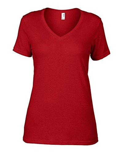 Anvil av123Ladies–Sheer cuello en V algodón camiseta grande, color rojo