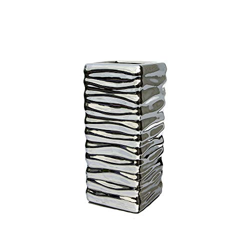 MaxFlowery Silver Tone Electroplated Square Ceramic Metallic Hue Table Vase with Flowing Curves & Decorative Swirls