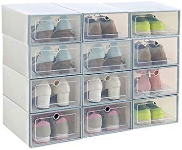 Aufbewahrungsbox für Schuhe, 6 Stück Schuhboxen aus Kunststoff, stapelbar, faltbar, Schuh Organizer für Männer Frauen in großer Größe WeißGrau, 12