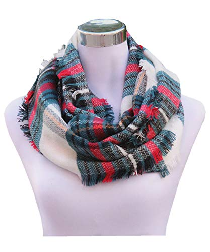 Lucky Leaf Women Girls Cozy Warm Thick Tartan Check Pattern Circle Loop Scarves (Red Green Plaid) for $<!--$12.99-->