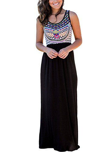 Dearlovers Women Sleeveless Ethnic Printed Summer Casual Maxi Long Dress Medium Size Black