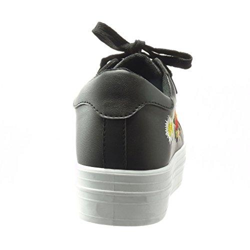 Angkorly - Zapatillas de Moda Deportivos bimaterial zapatillas de plataforma mujer flores bordado brillantes Talón Plataforma 4 CM - Negro