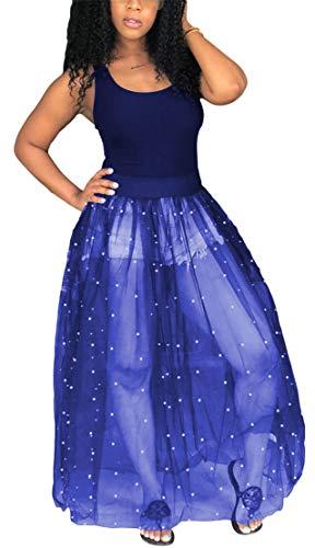 Beading Fashion - TshineY Women Sleeveless Sheer Mesh Bodycon Maxi Dress Bodysuit Party Clubwear