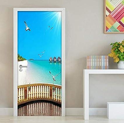 Amazon.com: SCJS Pegatinas De Puerta 3D Balcón De Playa ...