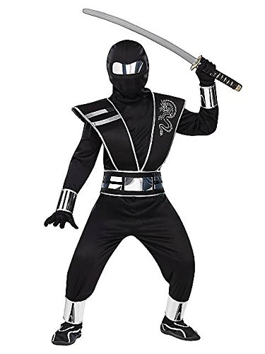 Silver Mirror Ninja Kids Costume - Child Black Ninja Costumes