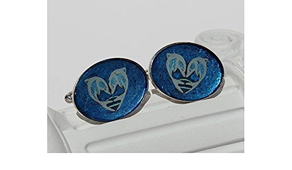 Dolphins /& Doves Cuff Links Dolphin Love 3-910 Navy Dark Blue Golden Nautical Mens Jewelry Shirt Accessory Unique Gift for Him Festive