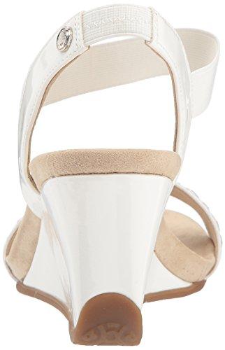 Anne Klein Womens Loveme Slip On Sandal Pump White/Silver/Multi Fabric 79Zad