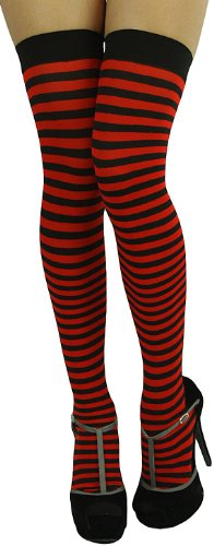 ToBeInStyle Women's Striped Two Tone Thigh Hi Stockings - One Size - Black W/Red Stripes