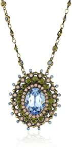 "Sorrelli ""Meadow Mist"" Intricate Crystal Oval Gold-Tone Pendant Necklace"