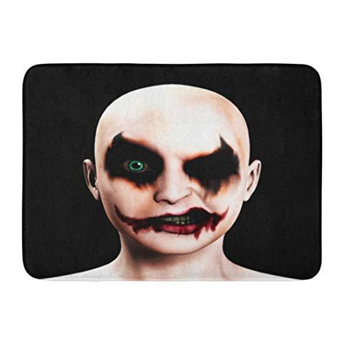 Emvency Doormats Bath Rugs Outdoor/Indoor Door Mat Scary Evil Psychotic Female Clown Halloween Face Joker Psychopath Bathroom Decor Rug 16